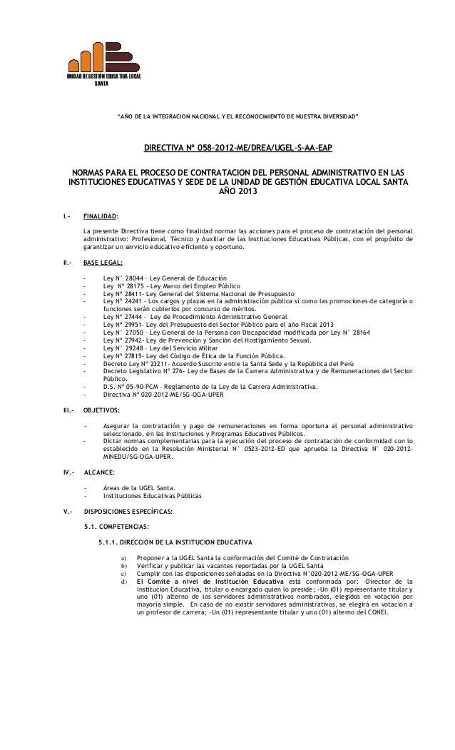 Directiva 058 2012 Contrato Personal Administrativo 2013