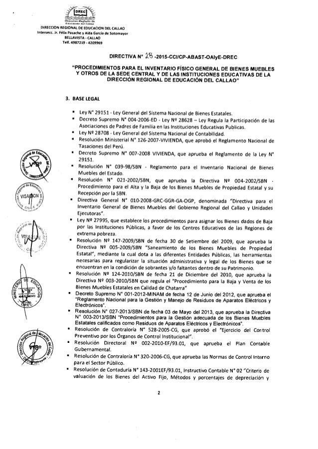 Inventario f sico 2015 en drec e iiee rdr n 7030 for Registro de bienes muebles central