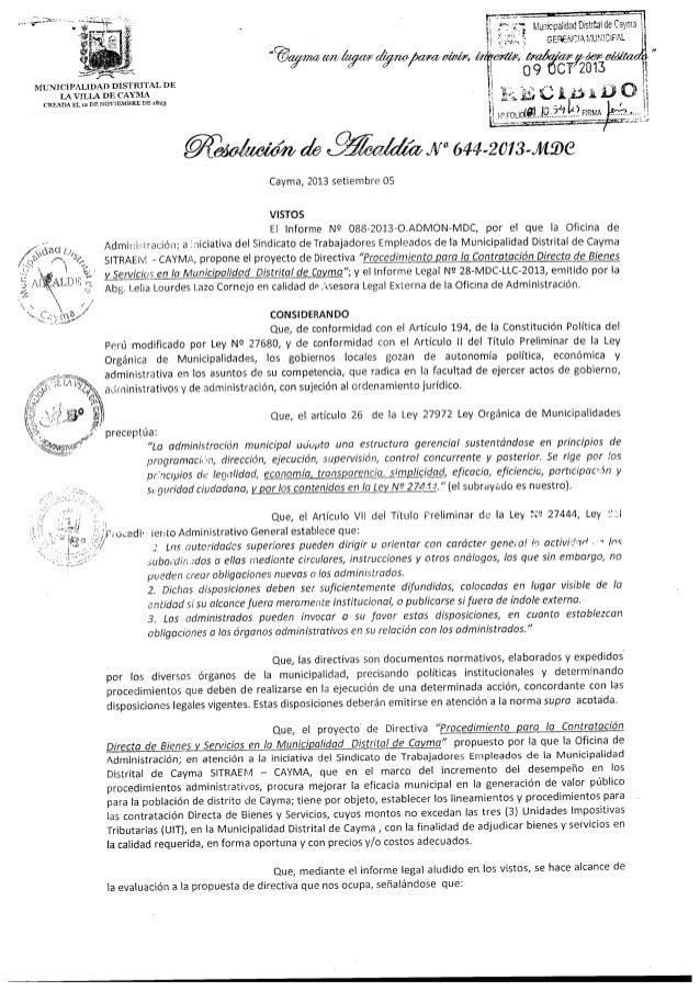 Resolución de Alcaldía Nº 644-2013-MDC