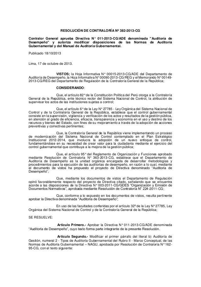 """RESOLUCIÓN DE CONTRALORÍA Nº 382-2013-CG Contralor General aprueba Directiva N° 011-2013-CG/ADE denominada """"Auditoría de D..."""