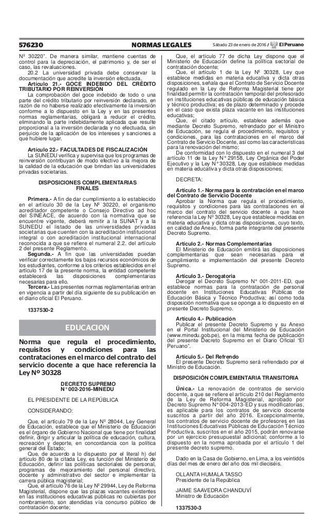 """576230 NORMAS LEGALES Sábado 23 de enero de 2016 / El Peruano Nº 30220"""". De manera similar, mantiene cuentas de control pa..."""