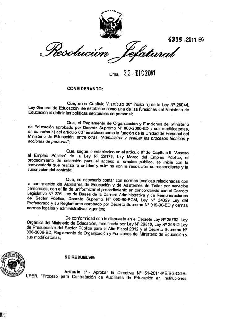 Lima, 22- D1C2011                      CONSIDERANDO:                       Que, en el Capítulo V artículo 80 0 inciso h) d...