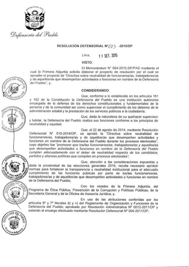 ïfirfivzaar/ (r  . J/3«r I o RESOLUCIÓN DEFENSÓRIÁL N°¿i/ ¿'i 4015/0?  Lima 11 SEl.  rms  VISTO.   El Memorándum N' G64-2015...