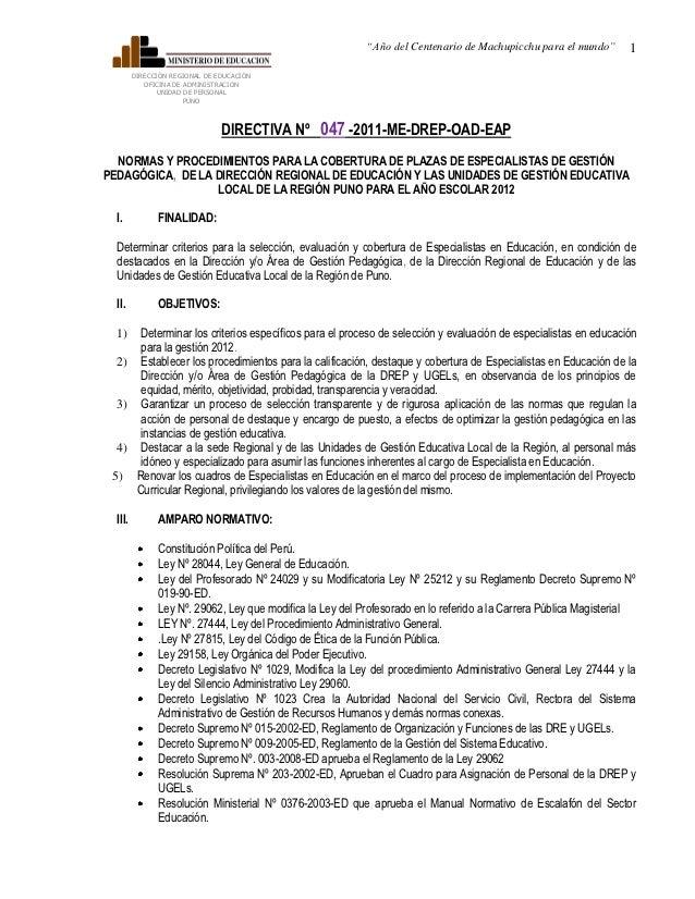 """""""Año del Centenario de Machupicchu para el mundo""""       1         DIRECCIÓN REGIONAL DE EDUCACIÓN            OFICINA DE AD..."""