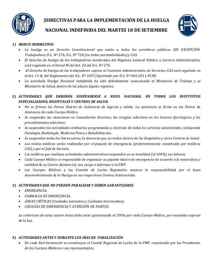 |DIRECTIVAS PARA LA IMPLEMENTACIÓN DE LA HUELGA                    NACIONAL INDEFINIDA DEL MARTES 18 DE SETIEMBRE1) MARCO ...
