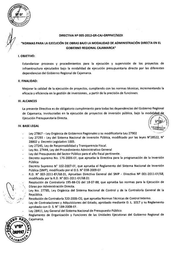 Directiva supervisor y residente de obra