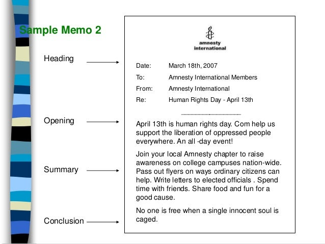 sample memo heading opening summary discussion conclusion 11
