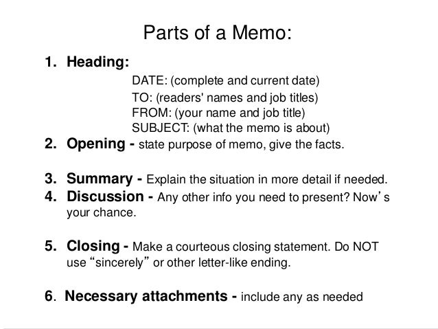 directives and instructions in memo mba first year