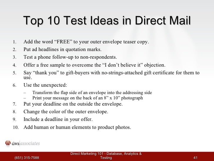direct mail letter format