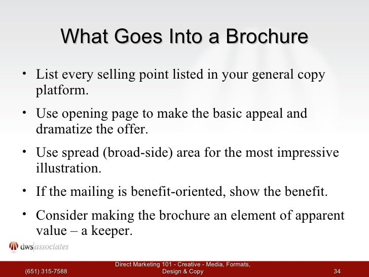 what goes in a brochure