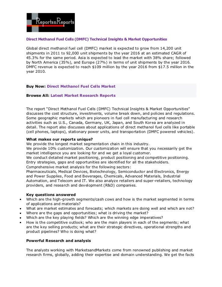Direct Methanol Fuel Cells (DMFC) Technical Insights & Market OpportunitiesGlobal direct methanol fuel cell (DMFC) market ...