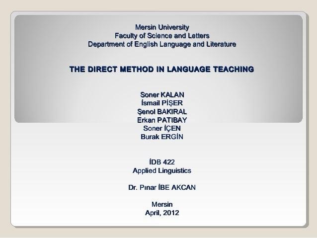 Mersin UniversityMersin University Faculty of Science and LettersFaculty of Science and Letters Department of English Lang...