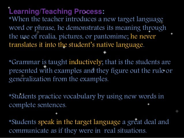 Learning/Teaching Process: *When the teacher introduces a new target language word or phrase, he demonstrates its meaning ...