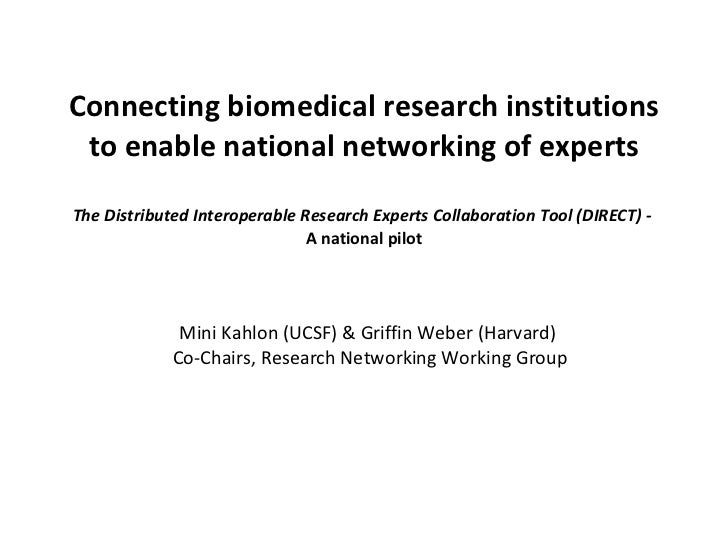 Connecting biomedical research institutions to enable national networking of experts The Distributed Interoperable Researc...