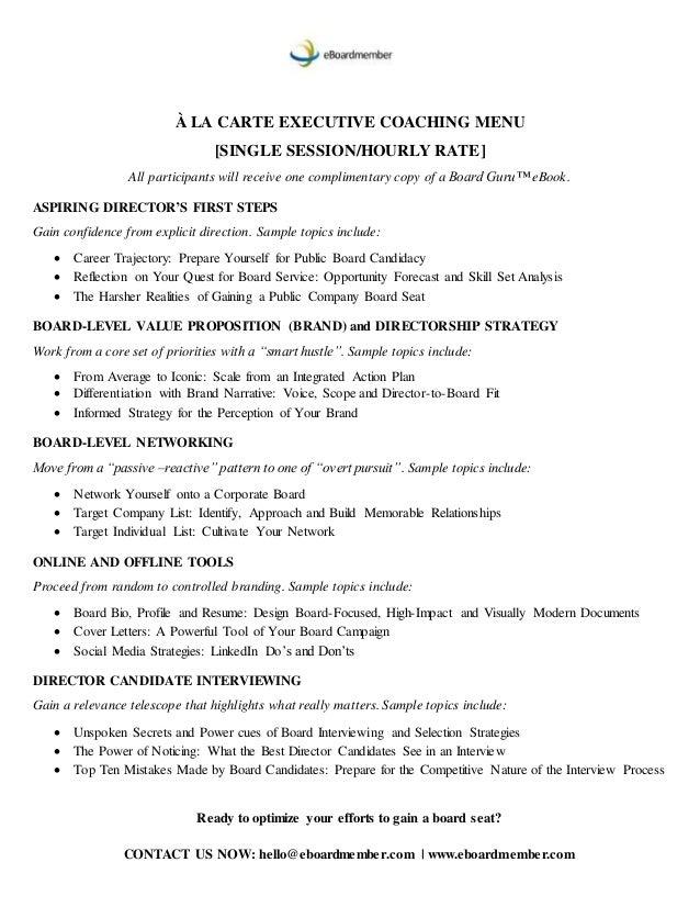 Director candidate a ala carte menu