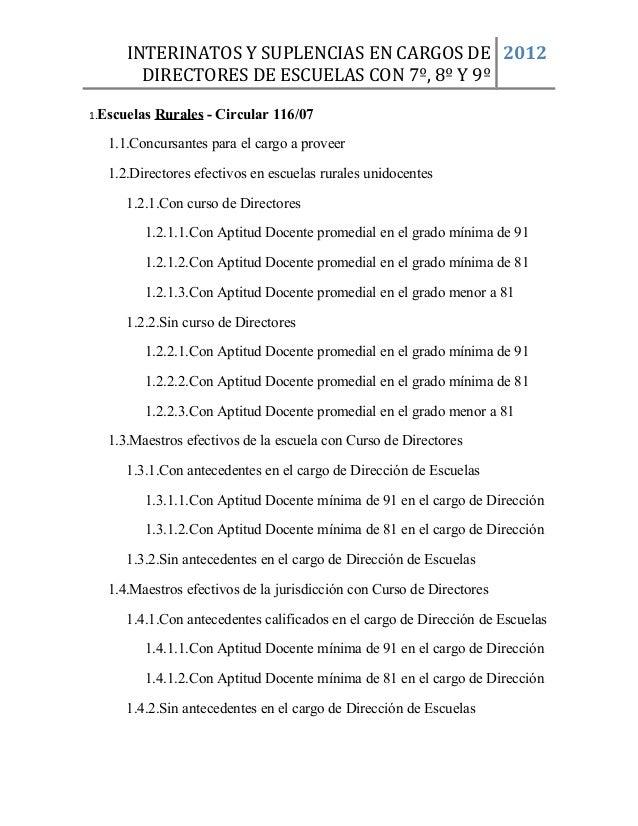 INTERINATOS Y SUPLENCIAS EN CARGOS DE 2012 DIRECTORES DE ESCUELAS CON 7º, 8º Y 9º 1.Escuelas  Rurales - Circular 116/07  1...