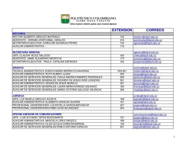 EXTENSION CORREOS RECTORÍA RECTOR:GILBERTO GIRALDO BUITRAGO 133 rectoria @elpoli.edu co ASISTENTE : HERNÁN ARISTIZABAL GIR...