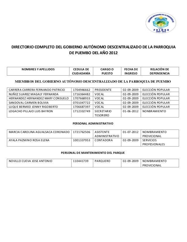 DIRECTORIO COMPLETO DEL GOBIERNO AUTÓNOMO DESCENTRALIZADO DE LA PARROQUIA                           DE PUEMBO DEL AÑO 2012...