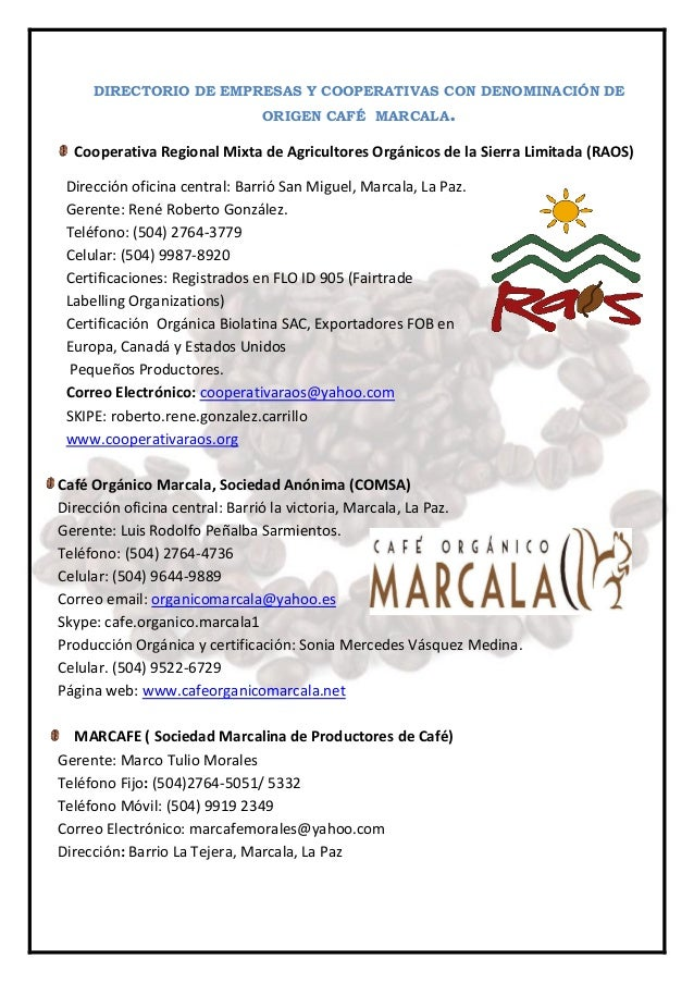 Directorio de cooperativas con denominación de origen café  marcala 2014 2015 Slide 3