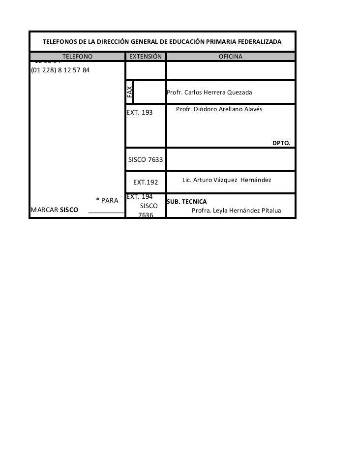 SISCO:7223                                EXT.165 * PARA MARCAR EXTENSIÓN    TELEFONOS DE LA DIRECCIÓN GENERAL DE EDUCACIÓ...