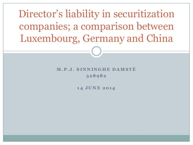 M . P . J . S I N N I N G H E D A M S T É 3 2 8 9 8 2 1 4 J U N E 2 0 1 4 Director's liability in securitization companies...