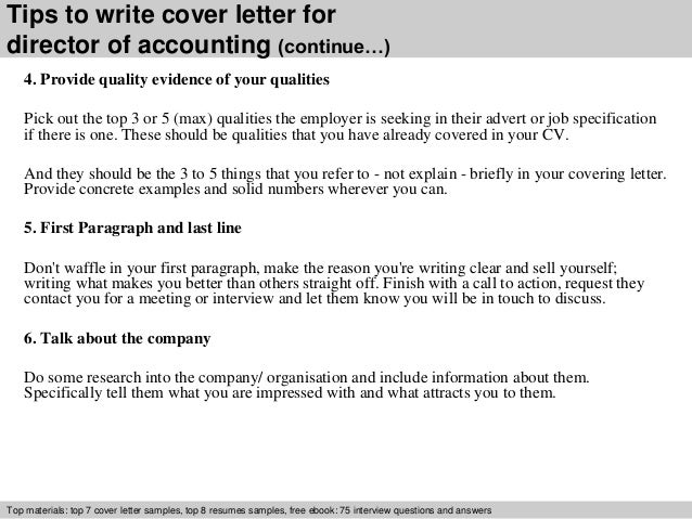 Director of accounting cover letter