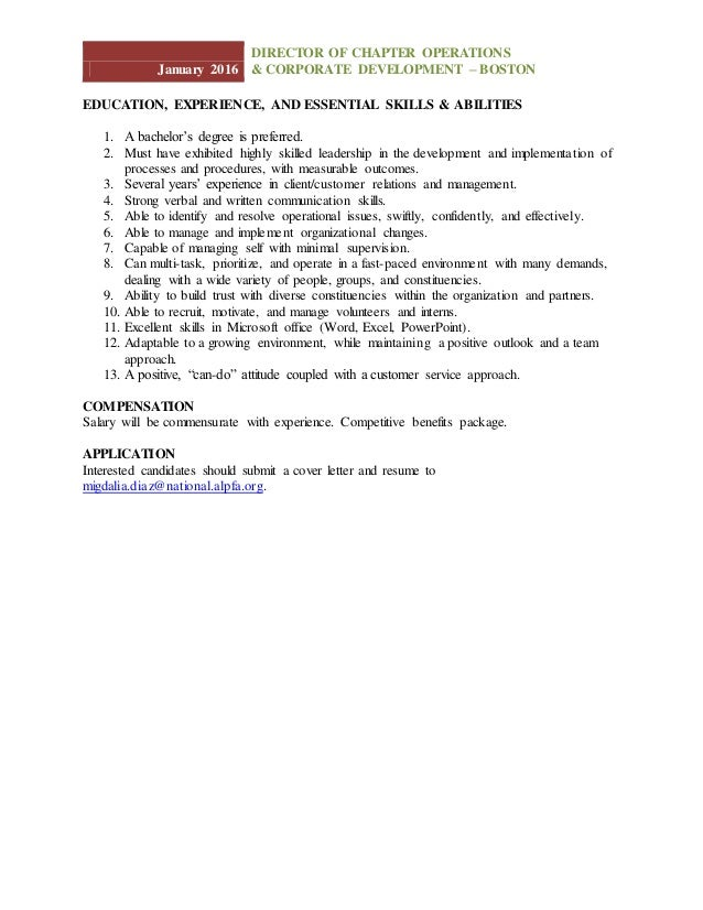 ALPFA Job Description: Director Of Chapter Operations & Corporate Dev…