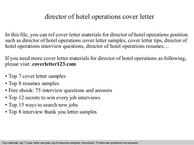 Director of hotel operations cover letter