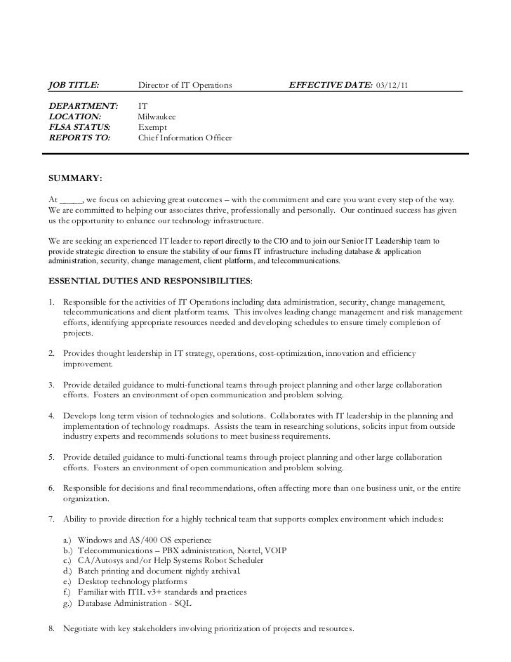 High Quality JOB TITLE: Director Of IT Operations EFFECTIVE ...