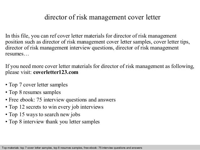 director of risk management cover letter in this file you can ref cover letter materials