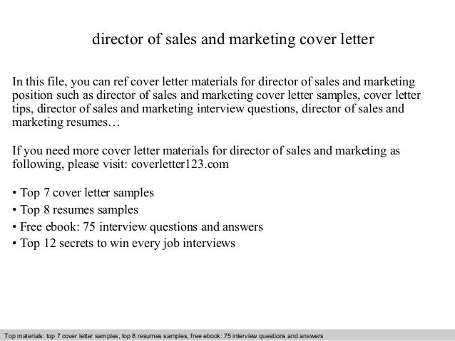 Director Of Sales And Marketing Cover Letter In This File You Can Ref
