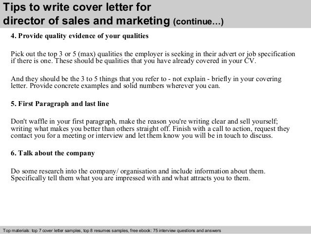 Director of sales and marketing cover letter for Director of marketing cover letter