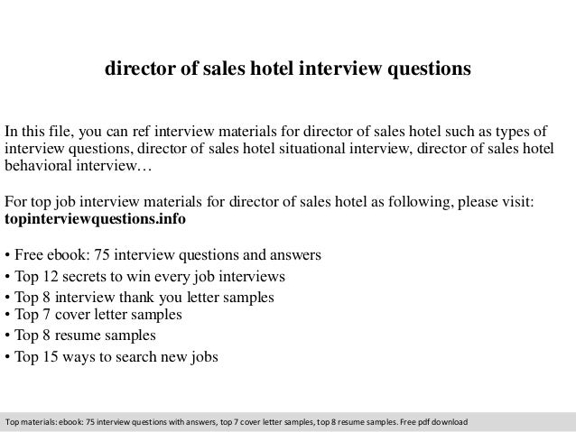 Charming Director Of Sales Hotel Interview Questions In This File, You Can Ref  Interview Materials For ... In Hotel Interview Questions