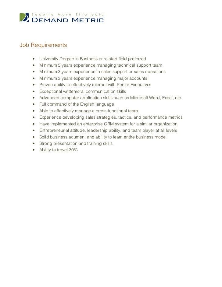 Job Requirements ...