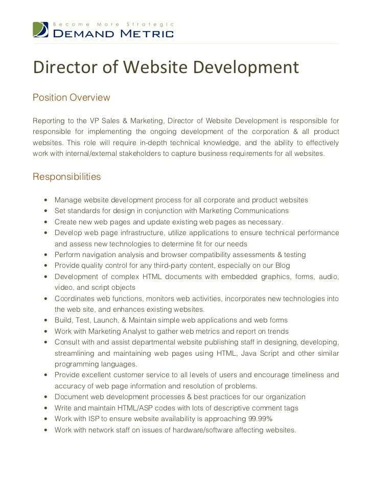 Director Of Website Development Job Description