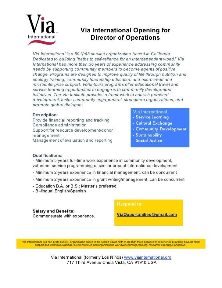 Via International Opening for                                                   Director of Operations        Via Internat...