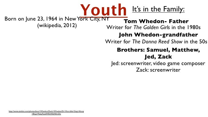 Born on June 23, 1964 in New York City, NY       Tom Whedon- Father                                                       ...