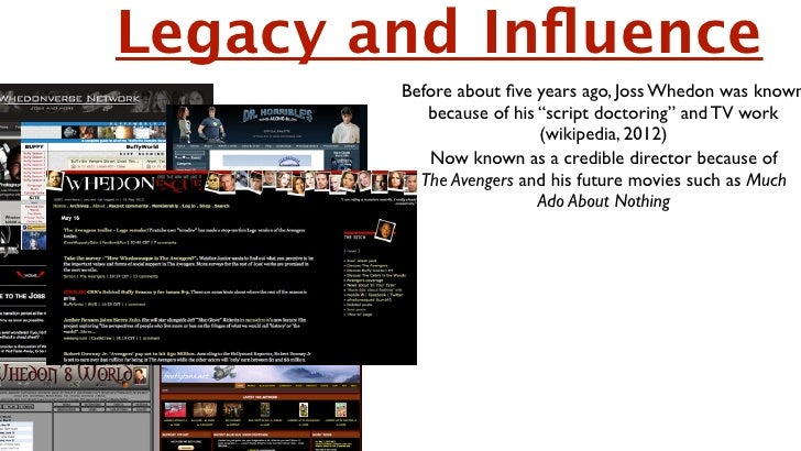 """Legacy and Influence        Before about five years ago, Joss Whedon was known           because of his """"script doctoring"""" a..."""