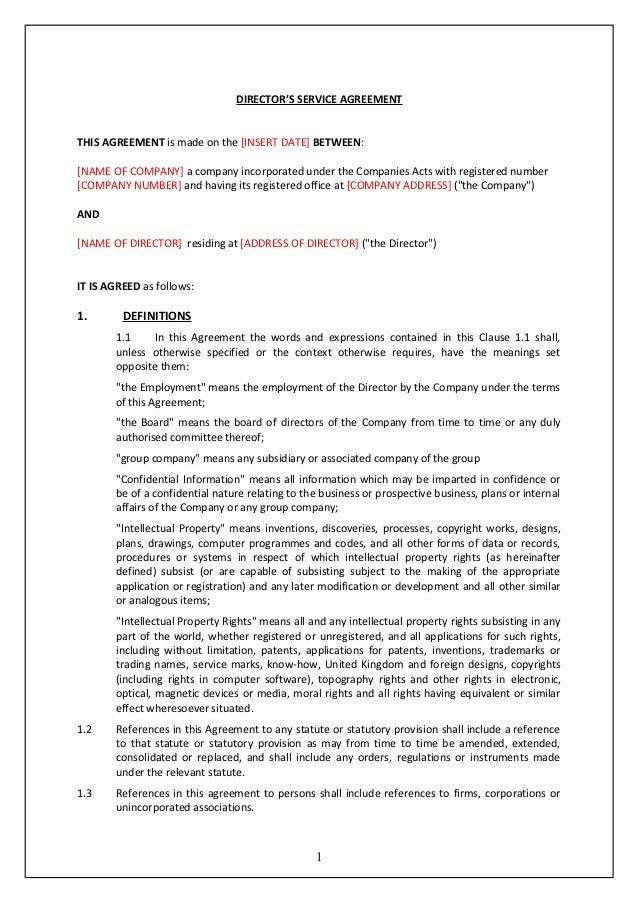 Directors service contract tcw for Directors loan to company agreement template