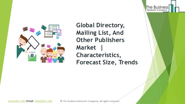 Directory, mailing list, and other publishers global market