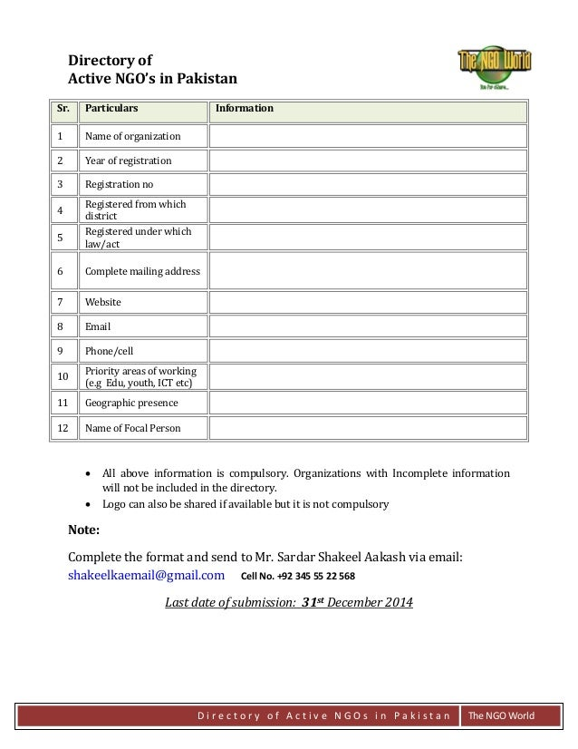 Directory of Active NGOs in Pakistan