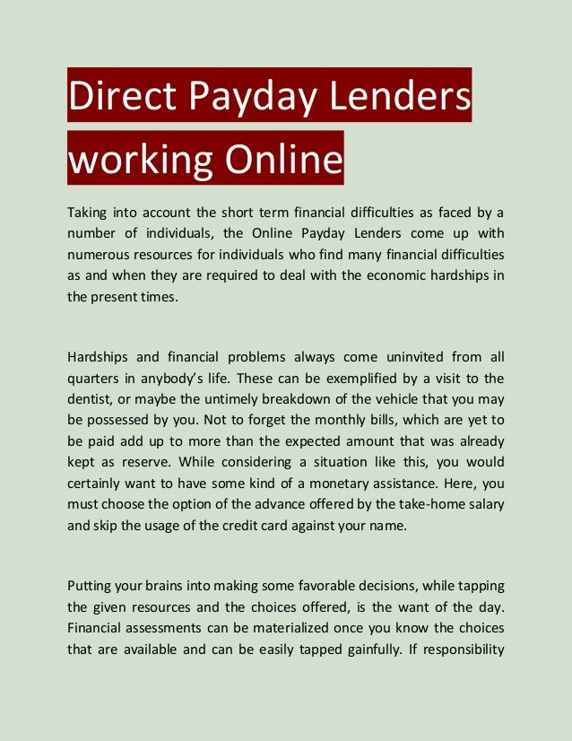 Direct payday lenders working online
