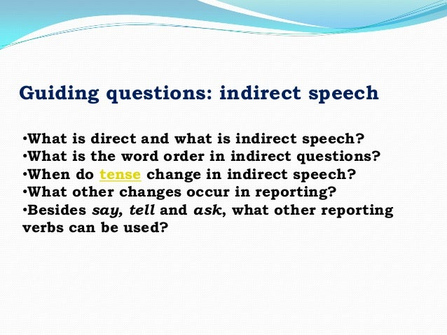 Direct & reported speech Slide 2