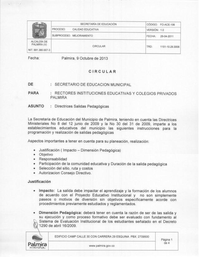 DIRECTRICES SALIDAS PEDAGÓGICAS