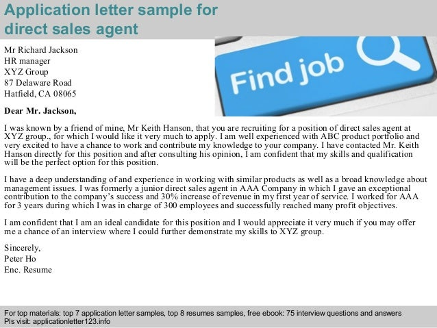 direct sales agent application letter
