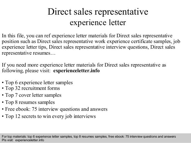 direct sales representative experience letter