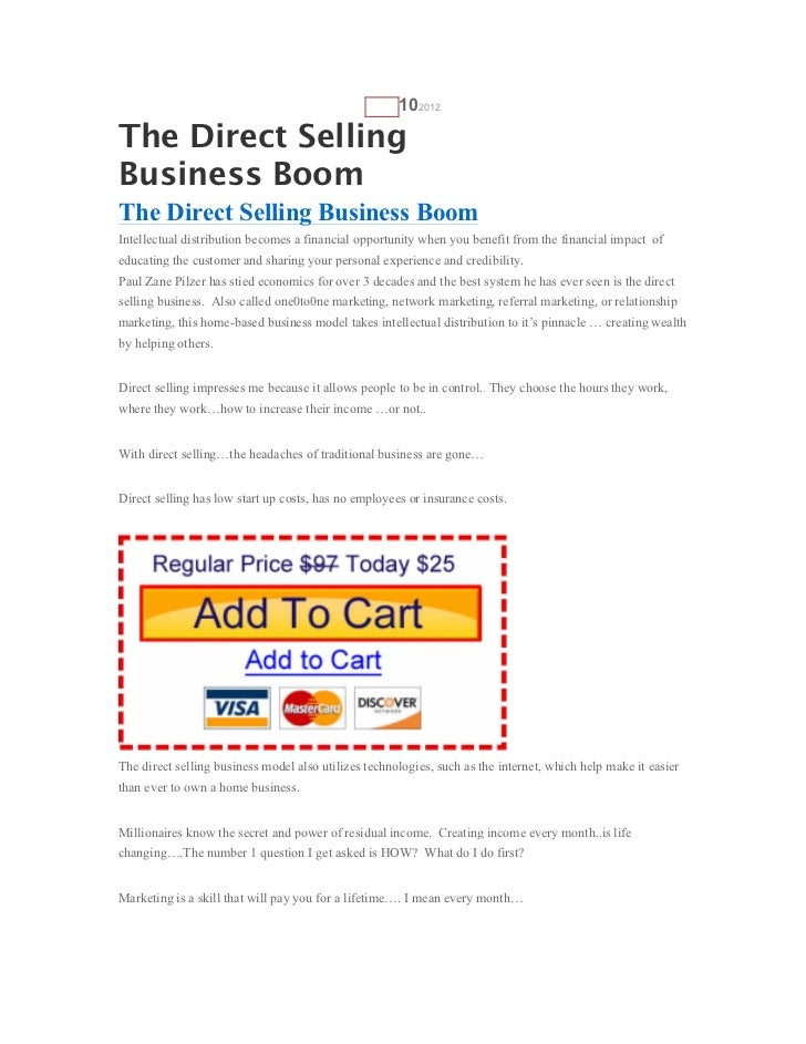 AUG   102012The Direct SellingBusiness BoomThe Direct Selling Business BoomIntellectual distribution becomes a financial o...
