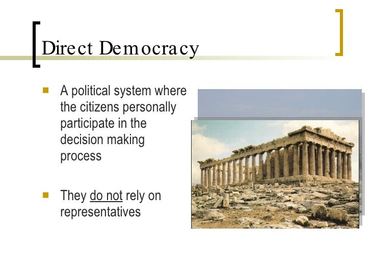 direct democracy vs indirect democracy In a direct democracy, citizens make decisions directly by proposing laws or referendums, while in an indirect democracy, a small.