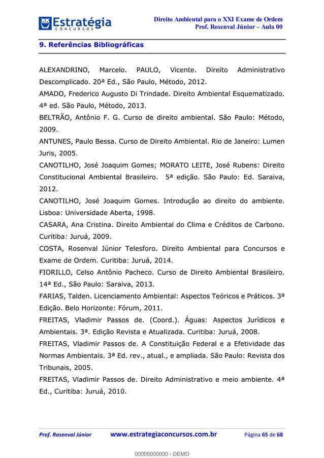 Curso de Direito Ambiental p/ XXI Exame OAB