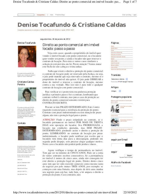Denise Tocafundo & Cristiane Caldas: Direito ao ponto comercial em imóvel locado: pas... Page 1 of 7                      ...